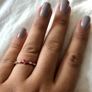 Jewelry - Minimalist heart ring red and white rose gold cz